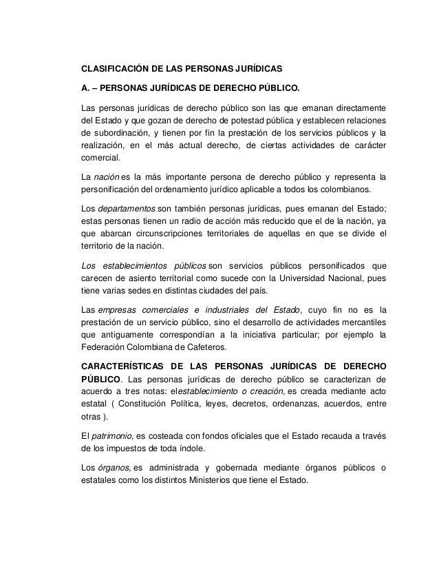 CLASIFICACIÓN DE LAS PERSONAS JURÍDICASA. – PERSONAS JURÍDICAS DE DERECHO PÚBLICO.Las personas jurídicas de derecho públic...