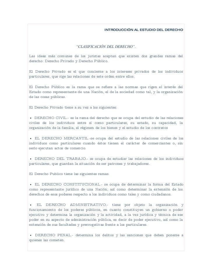 """INTRODUCCIÓN AL ESTUDIO DEL DERECHO                                """"CLASIFICACIÓN DEL DERECHO"""".  Las ideas más comunes de ..."""