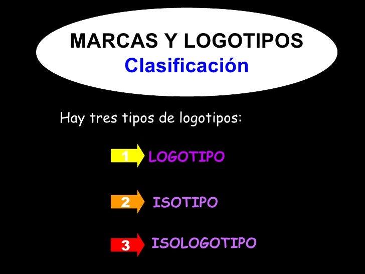 <ul><li>Hay tres tipos de logotipos: </li></ul>LOGOTIPO ISOTIPO ISOLOGOTIPO 1 2 3 MARCAS Y LOGOTIPOS Clasificación