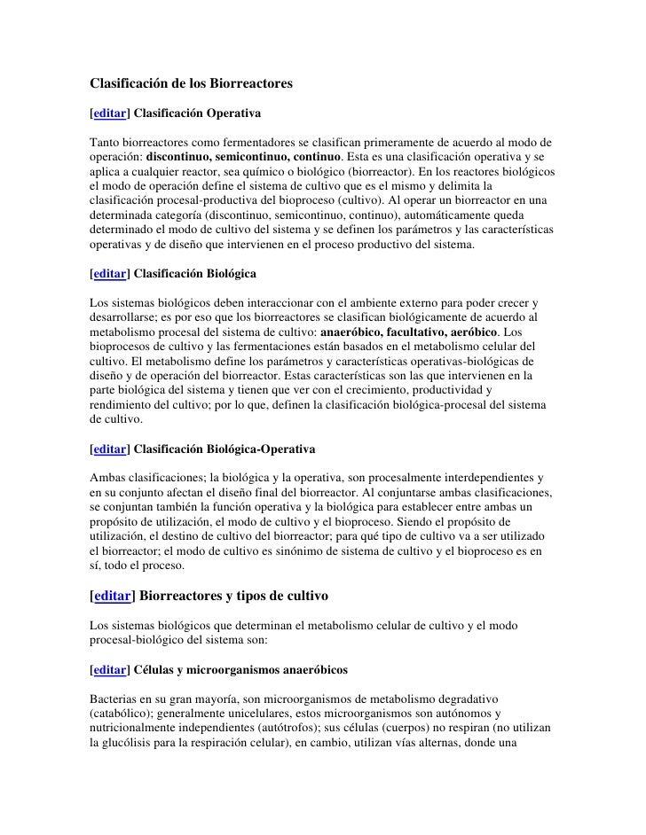Clasificación de los Biorreactores<br />[editar] Clasificación Operativa<br />Tanto biorreactores como fermentadores se cl...