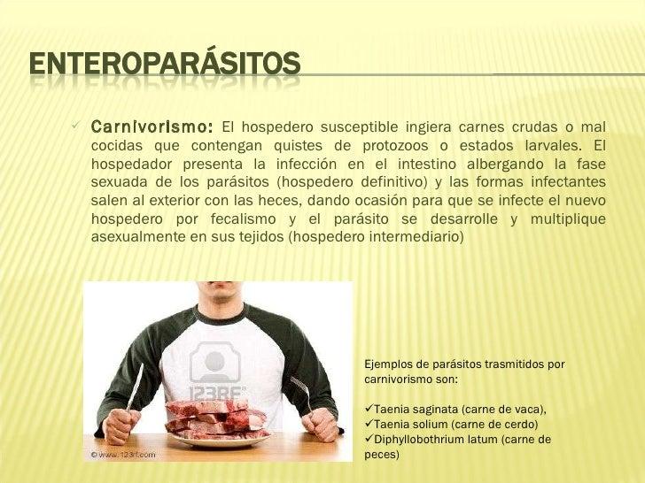 <ul><ul><li>Carnivorismo:   El hospedero susceptible ingiera carnes crudas o mal cocidas que contengan quistes de protozoo...
