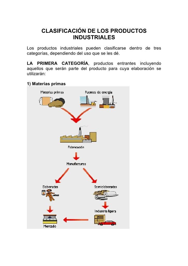 CLASIFICACIÓN DE LOS PRODUCTOS                INDUSTRIALES Los productos industriales pueden clasificarse dentro de tres c...