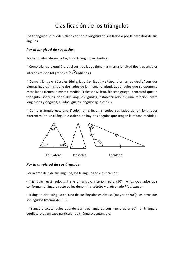 Clasificación de los triángulos<br />Los triángulos se pueden clasificar por la longitud de sus lados o por la amplitud de...