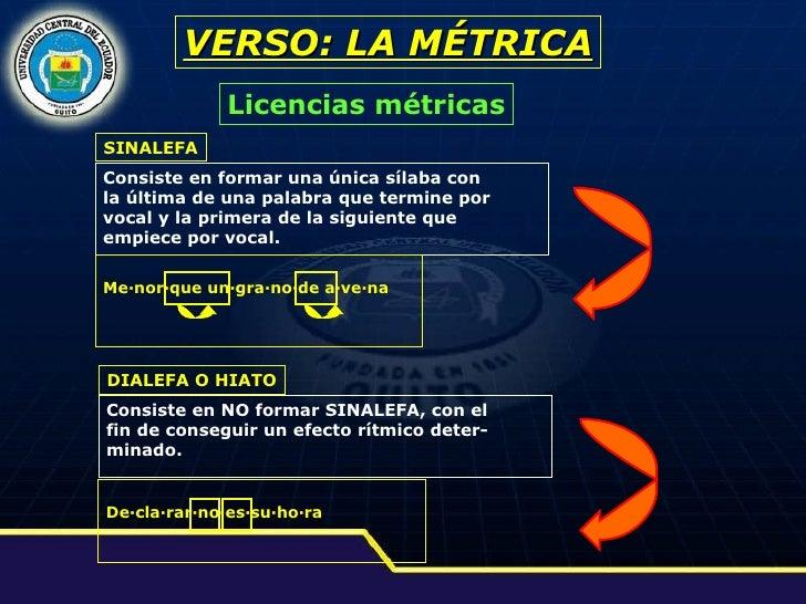 VERSO: LA MÉTRICA Licencias métricas SINALEFA Consiste en formar una única sílaba con  la última de una palabra que termin...