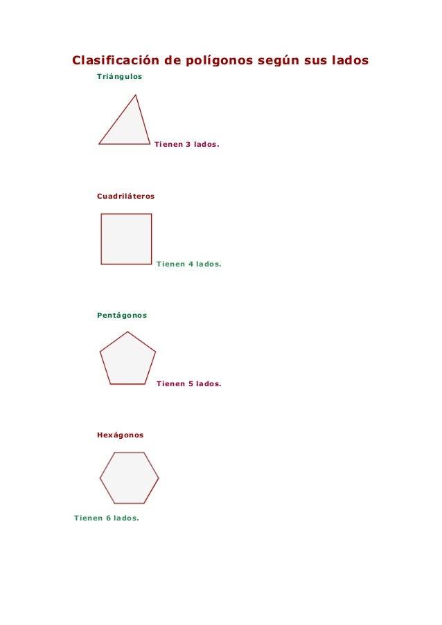 Clasificación de polígonos según sus ladosTriángulosTienen 3 lados.CuadriláterosTienen 4 lados.PentágonosTienen 5 lados.He...