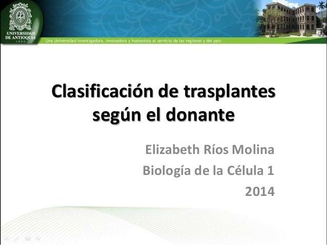 Clasificación de trasplantes según el donante Elizabeth Ríos Molina Biología de la Célula 1 2014