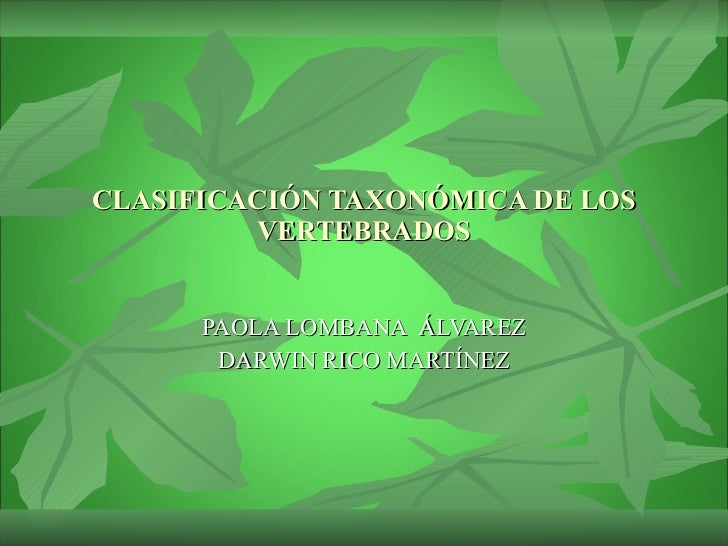 CLASIFICACIÓN TAXONÓMICA DE LOS VERTEBRADOS PAOLA LOMBANA  ÁLVAREZ DARWIN RICO MARTÍNEZ