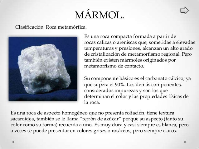 Clasificaci n y caracter sticas de las rocas - Caracteristicas del marmol ...