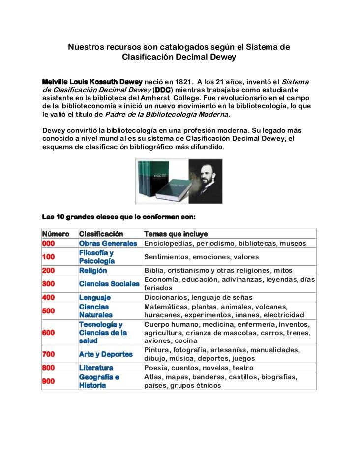 Nuestros recursos son catalogados según el Sistema de Clasificación Decimal Dewey<br /><br />Melville Louis Kossuth Dewey...