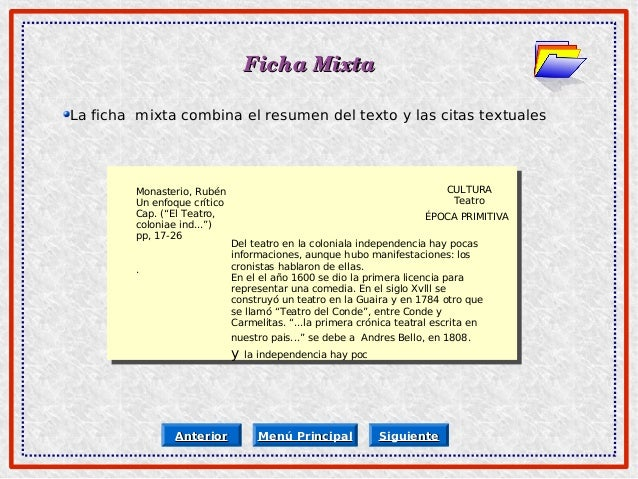 Clasificacion De Las Fichas De Contenido