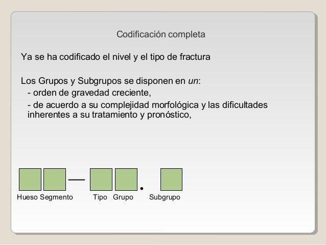 Codificación completa Ya se ha codificado el nivel y el tipo de fractura Los Grupos y Subgrupos se disponen en un: - orden...