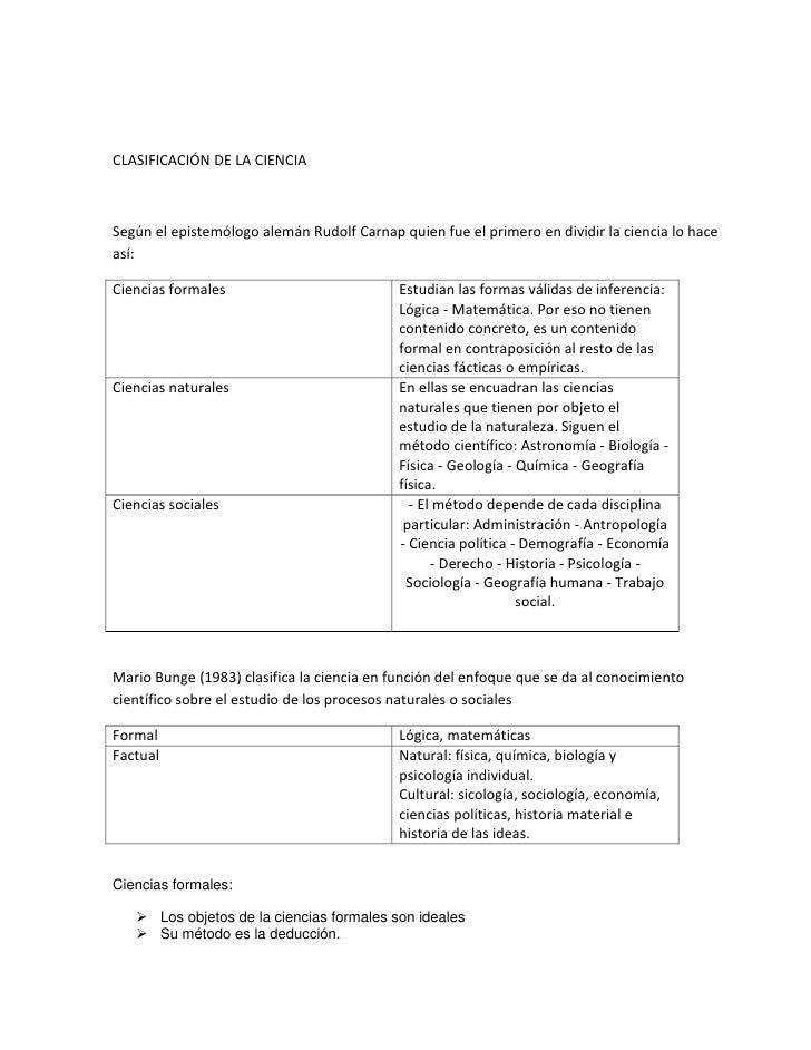 CLASIFICACIÓN DE LA CIENCIA<br />Según el epistemólogo alemán Rudolf Carnap quien fue el primero en dividir la ciencia lo ...