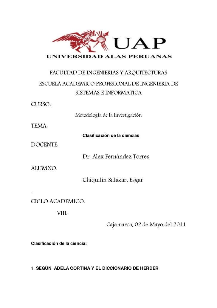 FACULTAD DE INGENIERIAS Y ARQUITECTURAS    ESCUELA ACADEMICO PROFESIONAL DE INGENIERIA DE                      SISTEMAS E ...