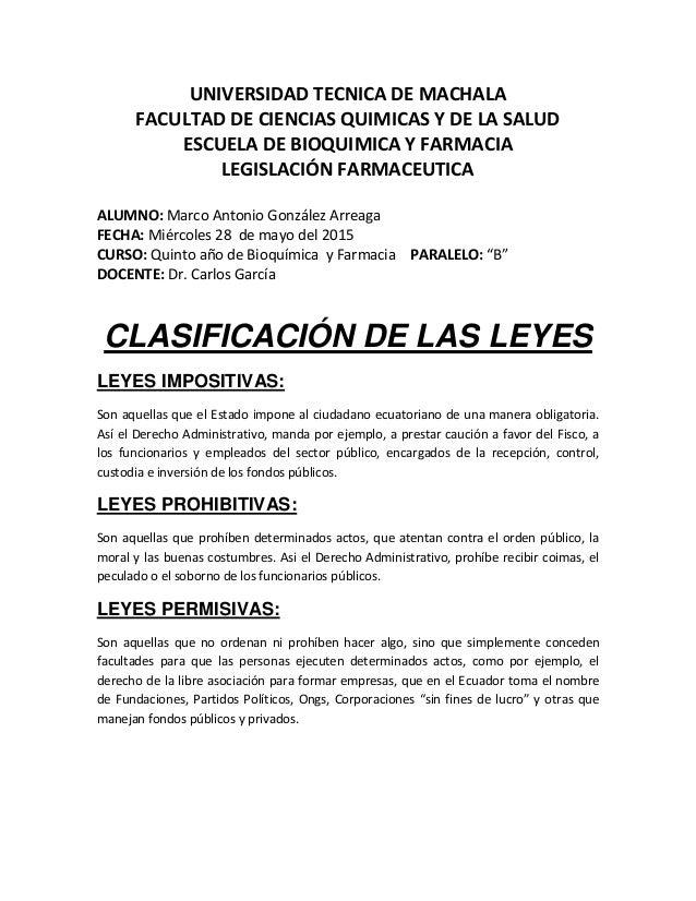 UNIVERSIDAD TECNICA DE MACHALA FACULTAD DE CIENCIAS QUIMICAS Y DE LA SALUD ESCUELA DE BIOQUIMICA Y FARMACIA LEGISLACIÓN FA...
