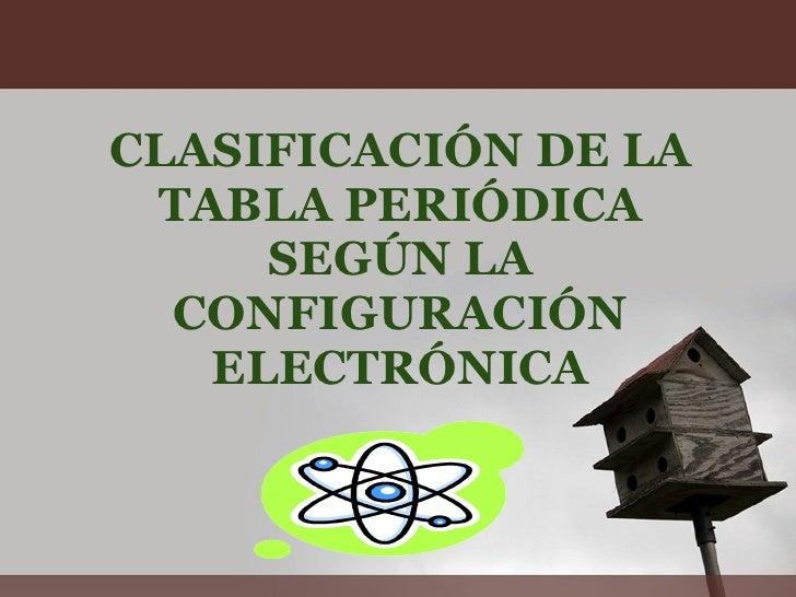 CLASIFICACIÓN DE LA TABLA PERIÓDICA SEGÚN LA CONFIGURACIÓN ELECTRÓNICA