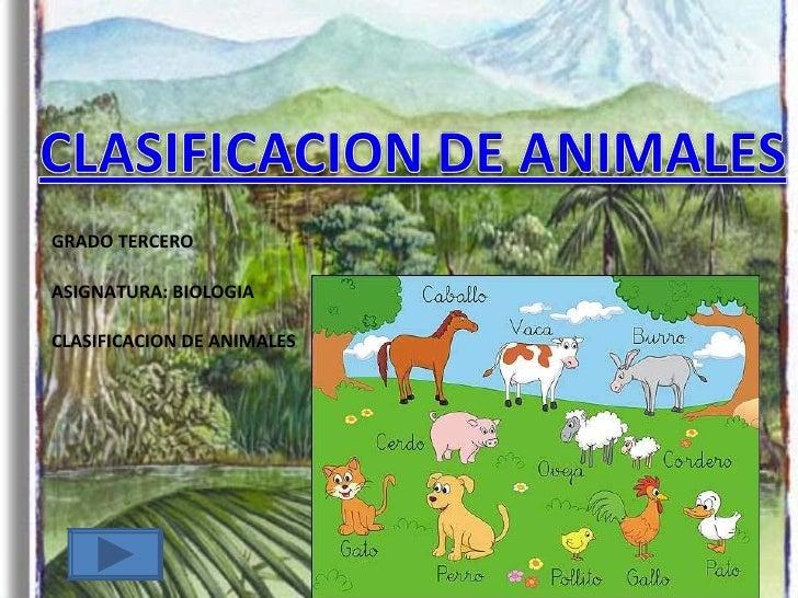 GRADO TERCERO ASIGNATURA: BIOLOGIA CLASIFICACION DE ANIMALES