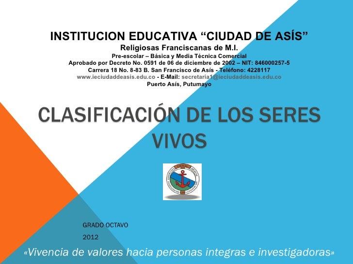 """INSTITUCION EDUCATIVA """"CIUDAD DE ASÍS""""                         Religiosas Franciscanas de M.I.                      Pre-es..."""