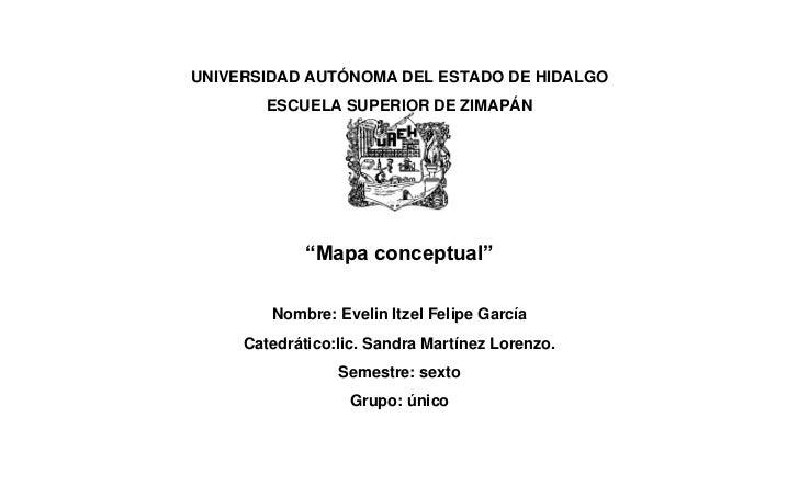 """UNIVERSIDAD AUTÓNOMA DEL ESTADO DE HIDALGO        ESCUELA SUPERIOR DE ZIMAPÁN             """"Mapa conceptual""""        Nombre:..."""