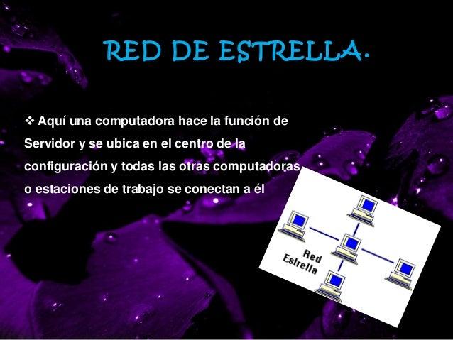 RED ESTRELLA.  Aquí una computadora hace la función de Servidor y se ubica en el centro de la configuración y todas las o...