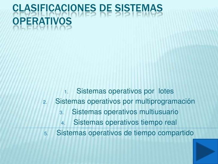 Clasificaciones de sistemas operativos<br />Sistemas operativos por  lotes <br />Sistemas operativos por multiprogramación...
