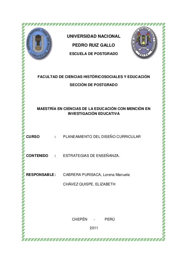 UNIVERSIDAD NACIONAL                    PEDRO RUIZ GALLO                   ESCUELA DE POSTGRADO     FACULTAD DE CIENCIAS H...