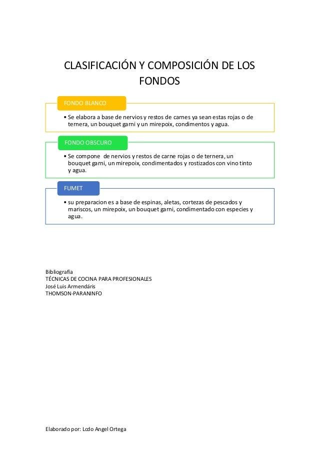 CLASIFICACIÓN Y COMPOSICIÓN DE LOS FONDOS FONDO BLANCO • Se elabora a base de nervios y restos de carnes ya sean estas roj...