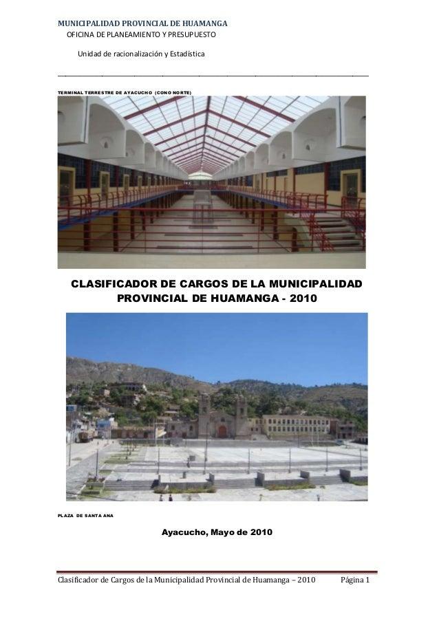MUNICIPALIDAD PROVINCIAL DE HUAMANGAOFICINA DE PLANEAMIENTO Y PRESUPUESTOUnidad de racionalización y Estadística__________...