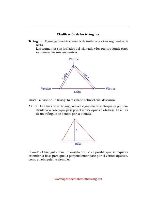 Clasificaci´on de los tri´angulos Tri´angulo: Figura geom´etrica cerrada delimitada por tres segmentos de recta. Los segmen...