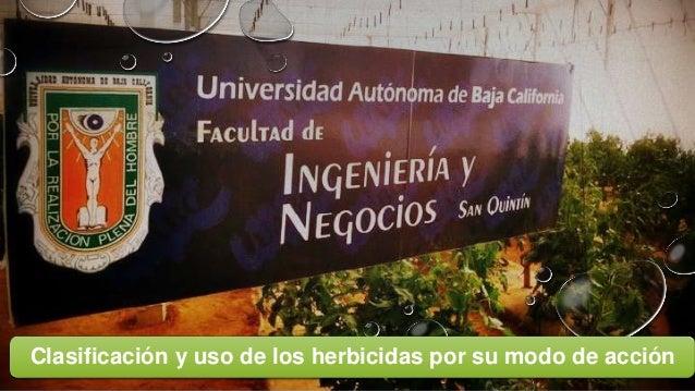 Clasificación y uso de los herbicidas por su modo de acción
