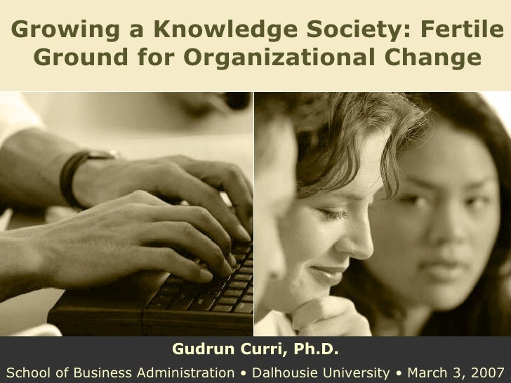 Growing a Knowledge Society: Fertile Ground for Organizational Change Gudrun Curri, Ph.D. School of Business Administratio...