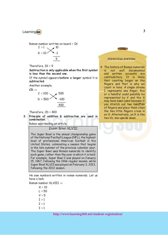 Maths Concept Notes For Class 4 Roman Numerals