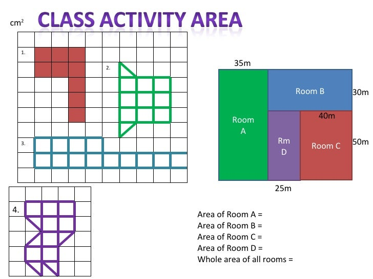 Room A Room B Rm D Room C Area of Room A =  Area of Room B = Area of Room C = Area of Room D = Whole area of all rooms = 3...