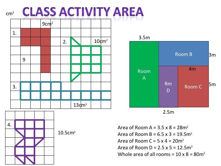 Room A Room B Rm D Room C Area of Room A = 3.5 x 8 = 28m 2   Area of Room B = 6.5 x 3 = 19.5m 2 Area of Room C = 5 x 4 = 2...