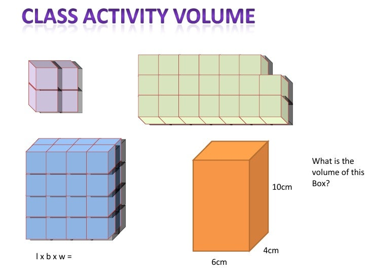 l x b x w =  What is the  volume of this Box? 6cm 4cm 10cm