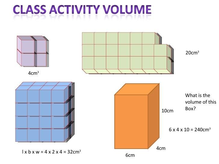 l x b x w = 4 x 2 x 4 = 32cm 3 What is the  volume of this Box? 6cm 4cm 10cm 4cm 3 20cm 3 6 x 4 x 10 = 240cm 3