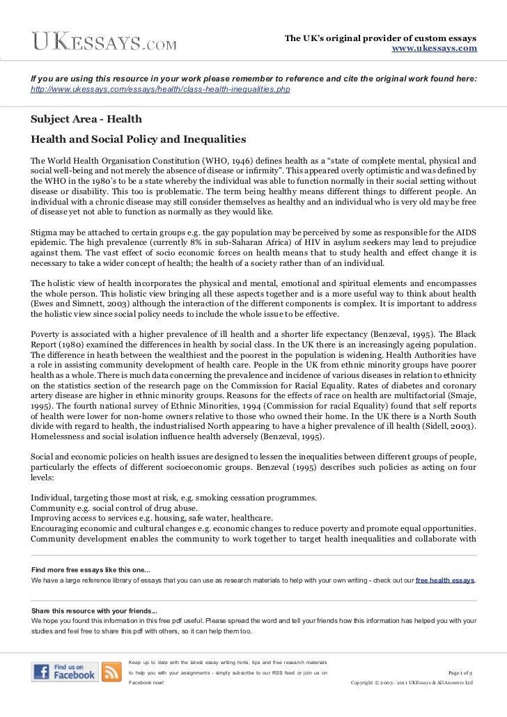 Health inequalities essay