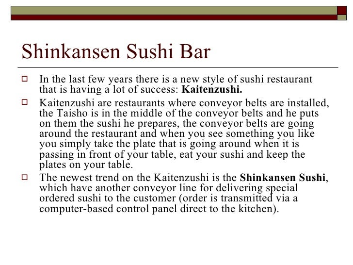 Shinkansen Sushi Bar - Project Management Class Project