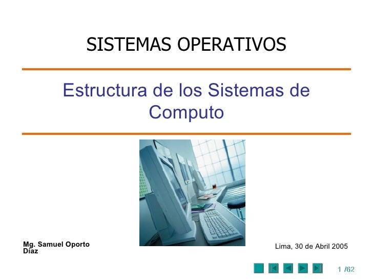 Mg. Samuel Oporto Díaz Estructura de los Sistemas de Computo Lima, 30  de  Abril 2005 SISTEMAS OPERATIVOS