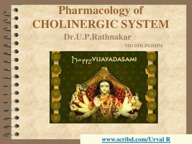Pharmacology ofCHOLINERGIC SYSTEM<br />Dr.U.P.Rathnakar<br />MD.DIH.PGDHM<br />www.scribd.com/Urval R<br />