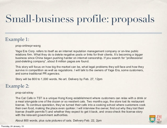 Small Business Profile: Proposals Example ...  Company Profile Examples For Small Business