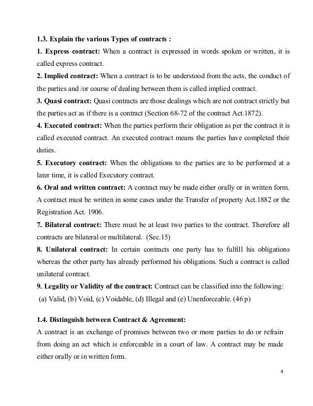 Class1 2contract – Written Agreement Between Two Parties