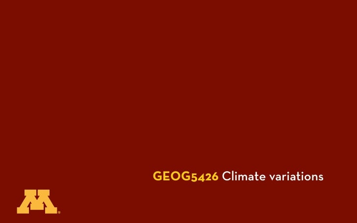 GEOG5426 Climate variations
