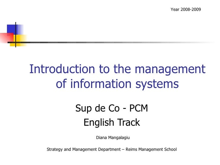 Introduction to the management of information systems Sup de Co - PCM English Track Year 2008-2009 Diana Mangalagiu Strate...