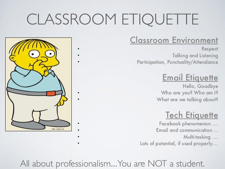 classroom etiquette essay Classroom etiquette and student behavior guidelines the purpose of this information is to assist students in understanding proper classroom behavior.