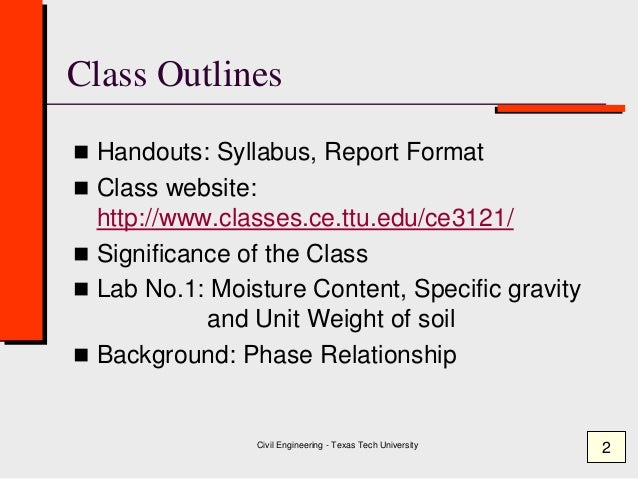 Class 1  Moisture Content - Specific Gravity ( Geotechnical Engineering ) Slide 2
