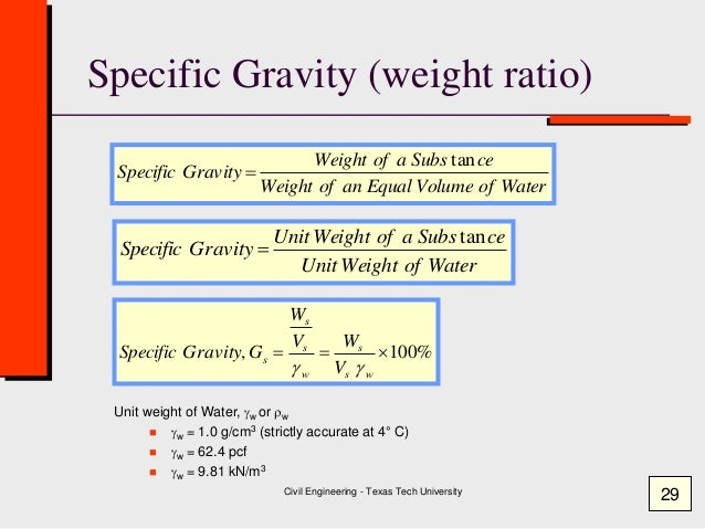 specific gravity and volume relationship in chemical equations