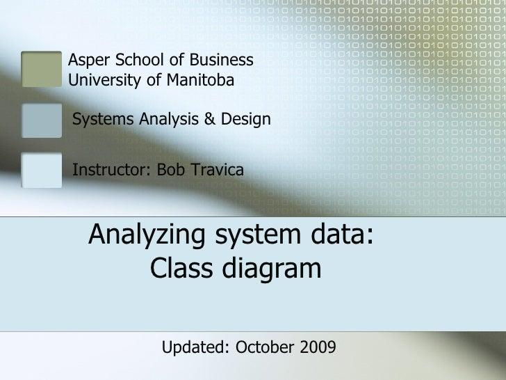 Analyzing system data:  Class diagram Asper School of Business  University of Manitoba Systems Analysis & Design Instructo...