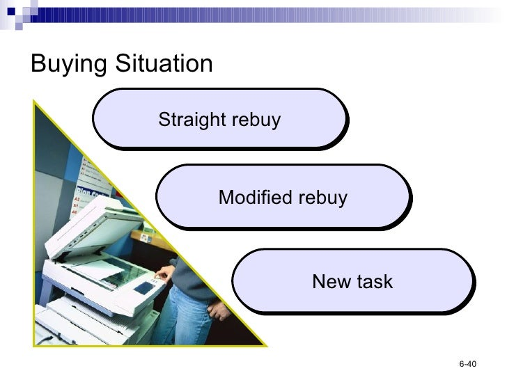 straight rebuy modified rebuy and new task purchase The straight rebuy, the modified rebuy, and the new task the straight rebuy is the simplest situation: the company reorders a good or service without any modifications.