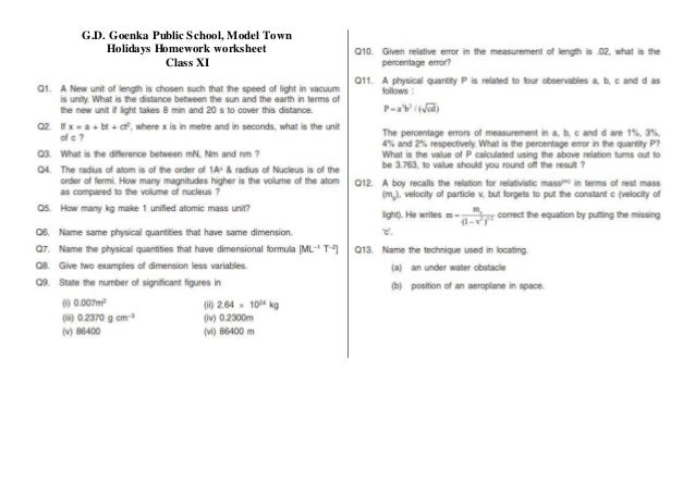 holiday homework for class 1 gd goenka