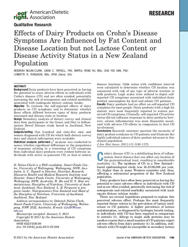 RESEARCHQualitative ResearchEffects of Dairy Products on Crohn's DiseaseSymptoms Are Influenced by Fat Content andDisease L...